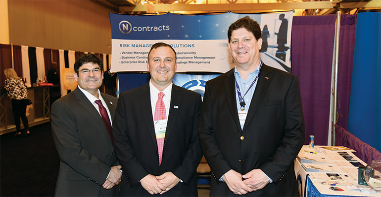 Alliance for Community Banks—Jonathan Goody, Ncontracts LLC's chief revenue officer (far left), and Eric Strohl, the company's president (middle), meet with Dan Clancy, ICBA's executive vice president-services.