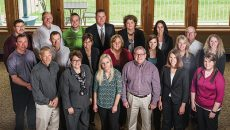Taking Turns—Midwest Bank's loan officers serve a term on the bank's loan approval committee. Those loan officers, front row from left: Jim Anderson, Dionne Merkens, Trisha Shirley, Jamie Klein, Jennifer Ovsak and Allison Kemper. Middle row, from left: Mike Schreiner, Mike Stearns, Becky Stahl, Molly Robinson, Katie Oberg, Jackie Clark and Aubree Martinez. Back row, from left: Jeff Ellsworth, Jay Ellsworth, Craig Koep, Steve Daggett, Stacey Frank, Julia Okeson and  Mike Jahnke.; Photo: Paul Flessland