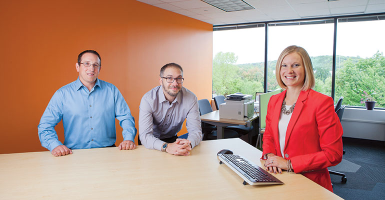 Science Project—PeoplesBank established its Consumer Innovation Lab two years ago to maintain the best, most current products and services within its competitive marketplace in Holyoke, Mass. From left are the lab's key team members Mike Raposo, project manager; Greg O'Donnell, data scientist; and Karen Buell, vice president–Customer Innovation Lab.