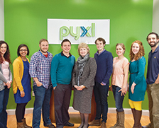 Staff of the marketing firm Pyxl Inc. meet with their community banker, Lynne Lawson Fugate (center) of CapitalMark Bank & Trust in Knoxville, Tenn. From left to right, Nicole Denton, Kellye Coleman, Jerod Mills, Pyxl president Josh Phillips, Fugate, Taylor Dudney, Brenna DeLeo, Kelly Steffen and Chad Simmons.
