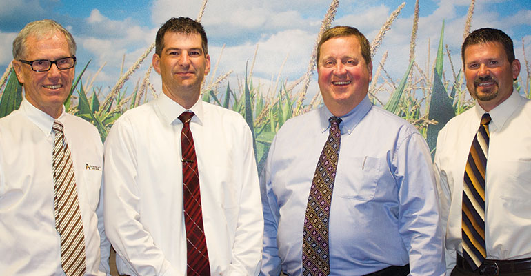 Top in Agricultural Lending—American State Bank's lending team (from left) includes Dale Den Herder, the bank's CEO and chairman; Mike Roetman, agricultural loan officer; Stan Speer, president; and Troy Broers, vice president.