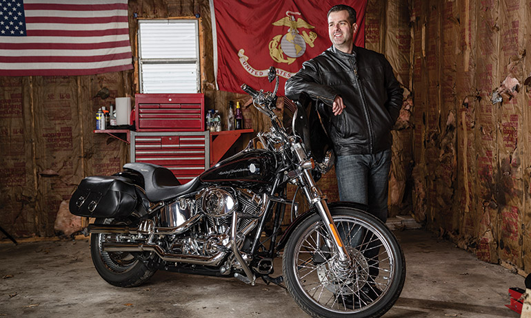 A former U.S. Marine, Paul Bowker participates in motorcycling events that raise money for military veterans.
