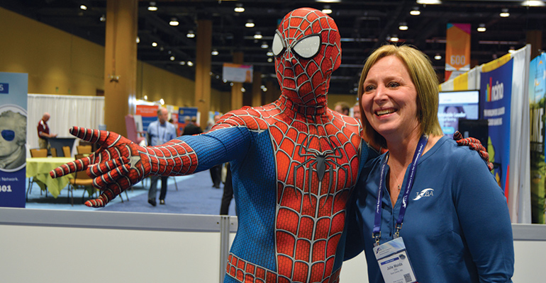 Spiderman and an attendee