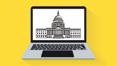 Laptop and Capitol building illustration