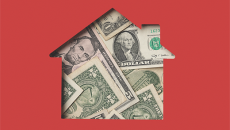 House and currency illustration