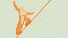 Man on a wire illustration