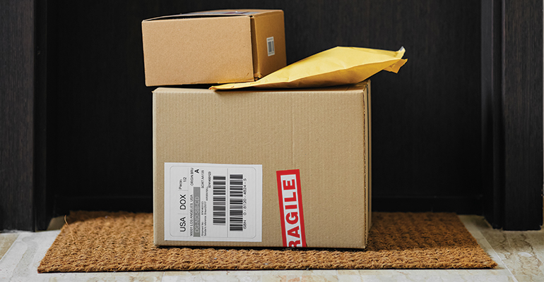 packages at a front door